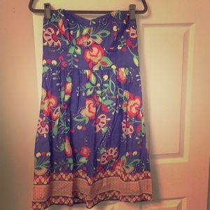 Shoshanna Indigo Floral Silk & Cotton Dress 10
